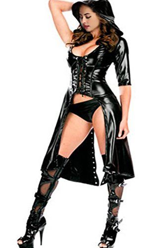 Fashion Queen Women's Faux Leather Cape Cloak Costume (Black) One (Dominatrix Outfit)