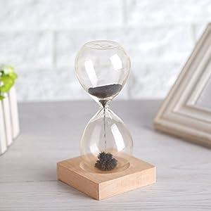 Temporizador de arena magnética reloj de arena de juguete escritorio de escritorio de oficina dispaly con base de madera 3