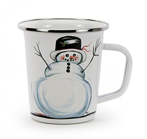 Golden Rabbit Enamelware Winter Snowman Latte Mug, 16 Oz. (Snowman Mug Latte)