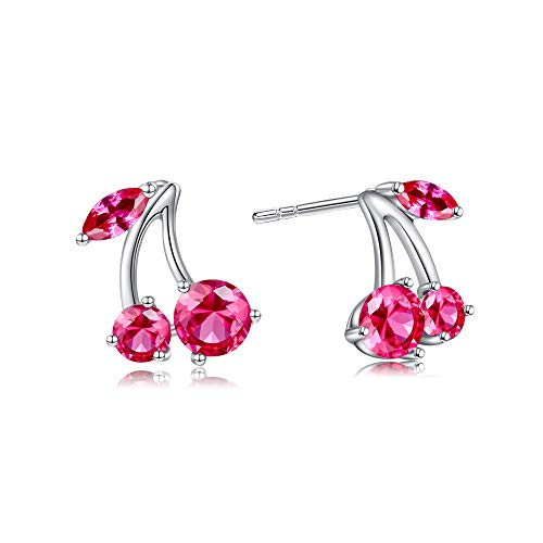 Buyless Fashion Girls Cherry Fruit Stud Earrings Sparkling Crystal
