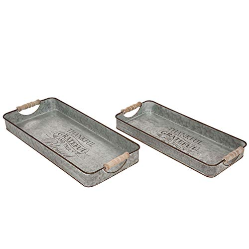 (Glitzhome Decorative Trays Set of 2 Galvanized Trays with 2 Handles Decorative Trays Metal Rectangle Trays Decorative Galvanized Tray Farmhouse Rustic Decorative Trays Home Decor)