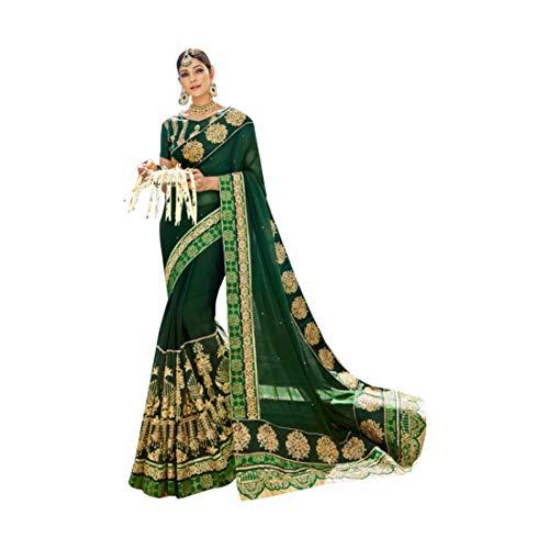 Jari Green sposa abiti lavorano indiane Sari Saree pesanti 748 donne tradizionali Abiti da ricamati tradizionali RqBRZ