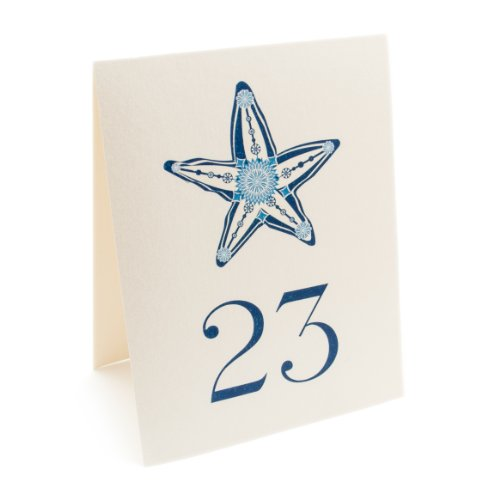 Starfish Table Numbers, Champagne, Numbered 1 through (Starfish Champagne)