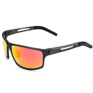 VEITHDIA 8571 Sunglasses Wayfarer Sport Polarized Al-Mg Frame 100% UV Protection (Grey Frame/Orange Lens, 66)