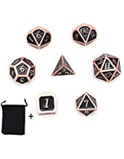 DollaTek 7-delige metalen polyedrale dobbelstenen set met zwarte opbergtas voor rollenspel Dungeons and Dragons D & D-wiskundeonderwijs (zwart)