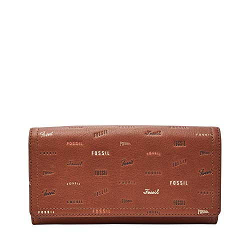 Fossil Embossed Wallet - Fossil Women's Logan Brown Leather Flap Clutch Wallet