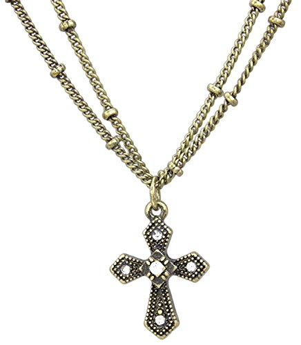 KIS Vintage Style Cross Necklace on 16