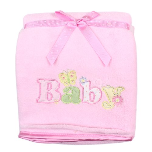 SpaSilk Baby-Girls Newborn Push 2-Ply Extra Thick Plush Blanket, Pink