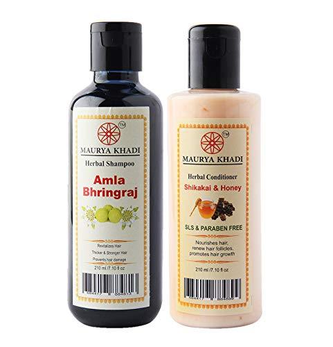 Maurya Khadi Hair Care Collection of Amla Bhringraj Shampoo and Shikakai & Honey Conditioner for Healthy and Luster Hair…