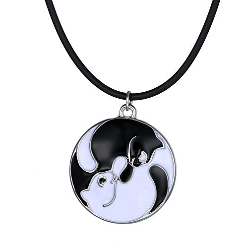 Kaputar New Women Cute Blackwhite Cats Animal Love Heart Crystal Chain Necklace Pendant | Model NCKLCS - 17521 |]()