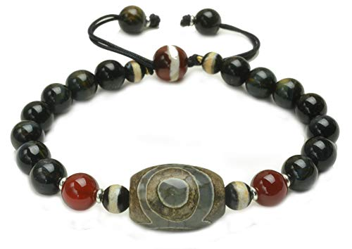 Tibetan 3 Eyed Protection Dzi Bead Bracelet with 8mm Black Tiger eye Beads - Fortune Feng Shui Jewelry