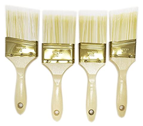 Paint Brush Wood Handle Straight and Slanted Edge 1-3inches (Large Set of 4) (3 1 2 Inch Handles)