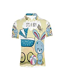 YOLIYANA Modern Durable Polo Shirt,Humpback Whale Figure by Ethnic Abstract Sea Underwater Print for Men,S