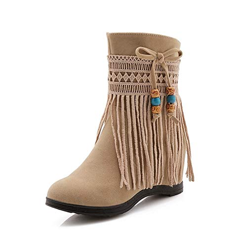Beige US9   EU40   UK7   CN41 Beige US9   EU40   UK7   CN41 Women's Fashion Boots Synthetics Fall & Winter Boots Heteredypic Heel Round Toe Booties Ankle Boots Tassel Black Beige   Red