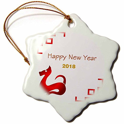 3dRose Chinese New Year - Image of Happy 2018 With Red Dog and Red Asian Scrolls - 3 inch Snowflake Porcelain Ornament - Happy Year Ornaments New