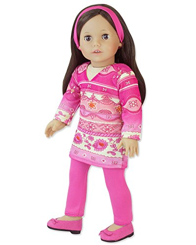 - Doll Clothing for 18 Inch Doll 3 Pc. Outfit Fits 18 Inch American Girl Dolls & More! Pink Print Long Sleeve Tunic Dress & Hot Pink Leggings & Headband, My Doll's Life