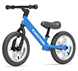 Swagtron K3 12″ No-Pedal Balance Bike for Kids Ages 2-5 Years | Air-Filled Rubber Tires | 7 lbs Lightweight | 12″~16″ Height Adjustable Seat | ASTM-Certified
