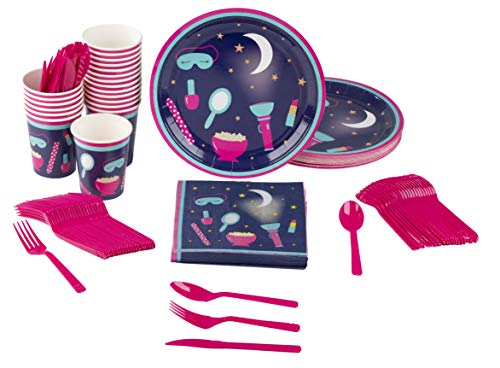 Disposable Dinnerware Set - Serves 24 - Slumber Party Supplies for Kids Birthdays, Sleepovers, Includes Plastic Knives, Spoons, Forks, Paper Plates, Napkins, Cups
