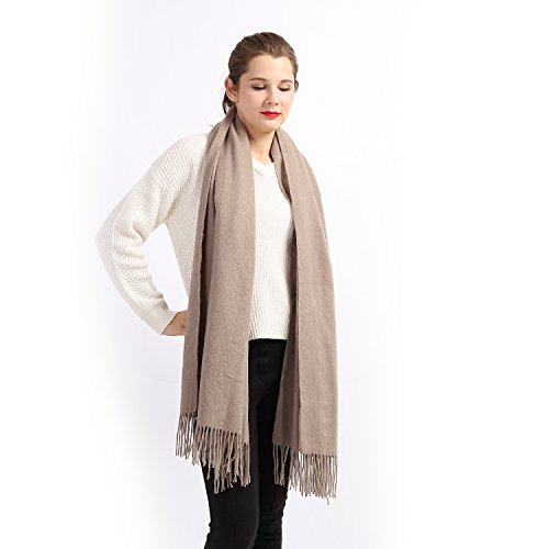 100% Cashmere Wrap Shawl Stole for Women, Guaranteed Quality Pure Cashmere, Super Soft and Warm Extra Large Scarf, Beige