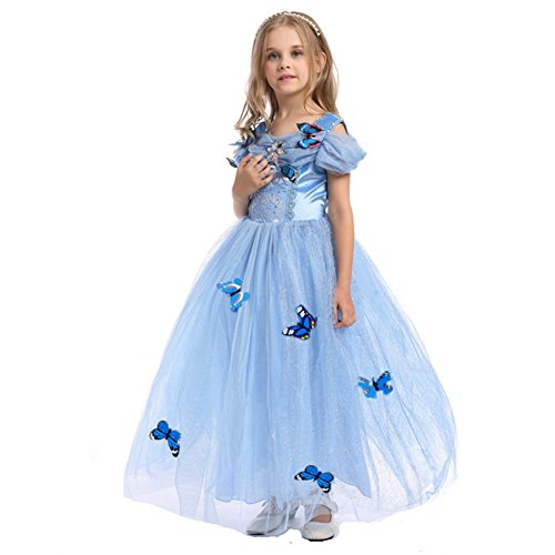 Lestore Girls' Princess Costume Blue Butterfly Dress (3-4 Years) -
