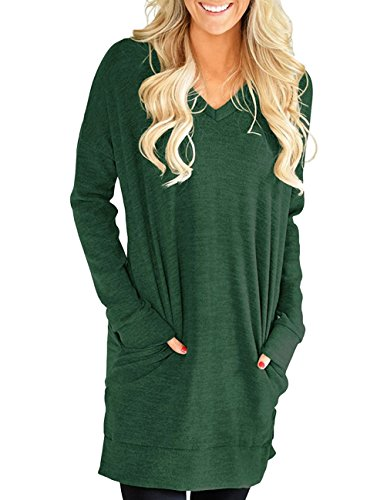 Buauty Womens Casual Long Sleeves Solid V-Neck Tunics Shirt Tops with Pockets