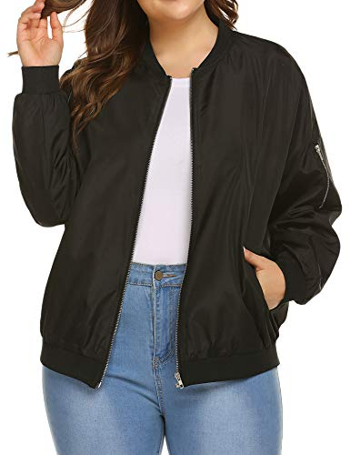 IN'VOLAND Womens Bomber Jacket Plus Size Lightweight with Pockets Zip Up Quilted Casual Coat Outwear Black ()
