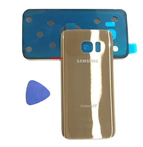 Gold Replacement - (md0410) Galaxy S7 OEM Gold Rear Back Glass Lens Battery Door Housing Cover + Adhesive Replacement For G930 G930F G930A G930V G930P G930T with adhesive and opening tool