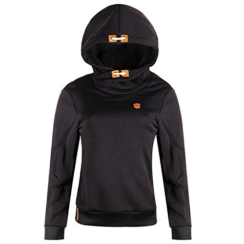 Lucao Women's Fashion Solid Color Hooded Pullover Long-Sleeved Sweater Sweatshirt Black-XL