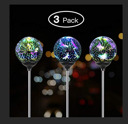 G-mart 3D Solar Glass Ball Garden Stake Set of 3, Butterfly, Ladybug, Dragonfly Design