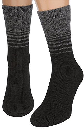Air Wool Socks, Merino Wool Organic Cotton Thermal Heated Yarn Dress Sox, 2 pair