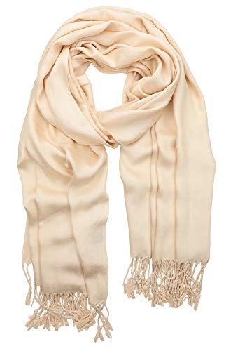 Achillea Soft Silky Solid Pashmina Shawl Wrap Scarf for Wedding Bridesmaid Evening Dress ... (Premium Champagne)