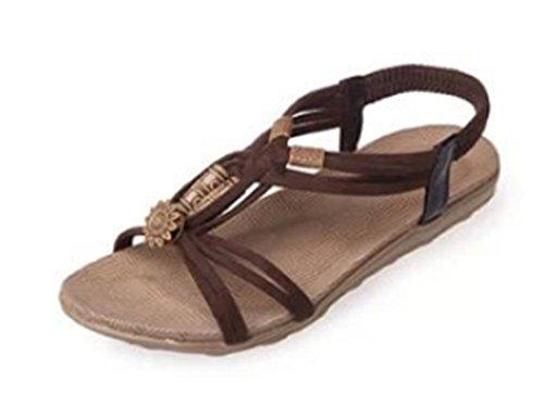 Mujer con cuentas sandalias planas con la playa zapatos planos principales de los pescados Brown