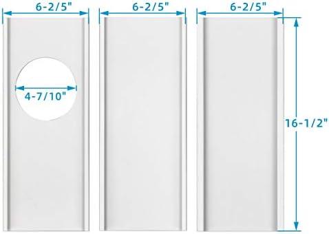 Jeacent Kit de placas de sellado para ventana de aire acondicionado portátil, kit de ventilación de plástico AC para puertas correderas de vidrio y ventanas, paneles de longitud ajustable para manguera de