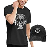 ERGOU Men's Short Sleeves Skull Earphones T-Shirt + Jeans Hats Combo Set