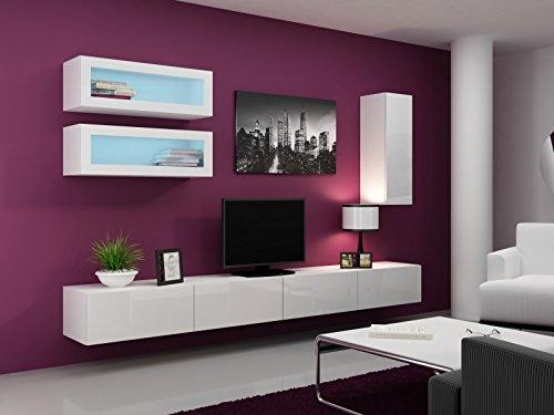 Wohnwand ' Vigo Full III' Hochglanz Hängeschrank Lowboard Glasvitrine, Farbe:weiß matt / weiß Hochglanz
