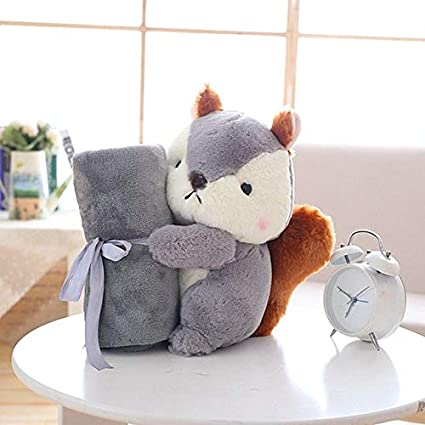 778a5dd037 XuBa GD Baby Store Super Soft Coral Fleece Plush Squirrel Shape Baby  Rolling air condictioning Blanket Children nap time School Gift Grey   Amazon.in  Home   ...