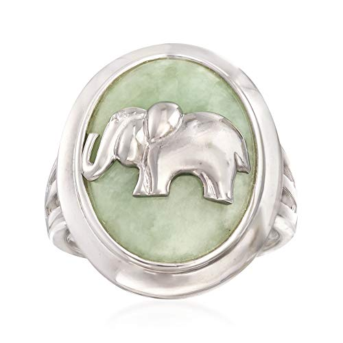 Ross-Simons 18x14mm Green Jade Elephant Ring in Sterling Silver