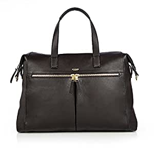 """Knomo Mayfair Luxe Audley, 14"""" Leather Laptop Handbag, with Removable Strap, Device Protection, RFID Pocket and KNOMO ID, Black"""