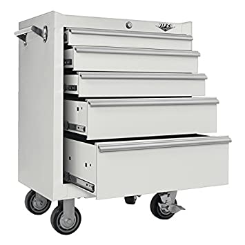 Viper Tool Storage V2605WHR 26 Inch 5 Drawer 18G Steel Rolling Cabinet,  White