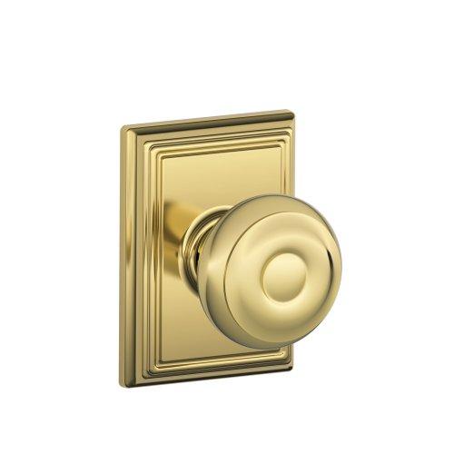 Schlage F10 Georgian With Addison Passage Lock with 16080 Latch 10027 Strike Lifetime Brass Finish