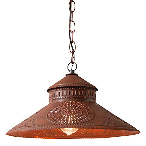 Irvin's Country Tinware Shopkeeper Shade Light with Chisel in Rustic Tin