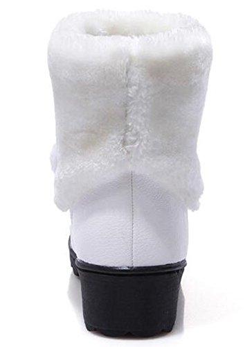 Idifu Womens Warm Panda Namaakbont Gevoerd Midgeile Hakken Pull Op Enkel Hoge Snowboots Wit