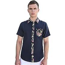 uxcell Men Short Sleeves Floral Prints Shirt