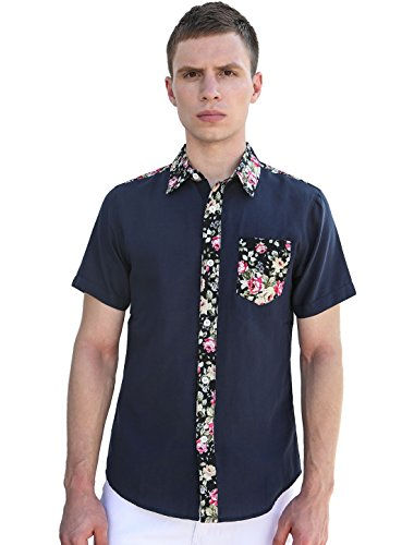 uxcell Men Button-Front Short Sleeves Floral Prints Shirt Navy Blue XL(US ()
