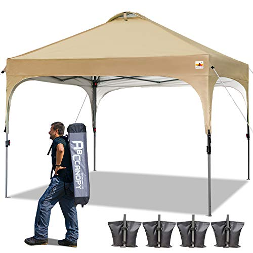 ABCCANOPY 10 x 10 Pop-Up Canopy Tent Beach Canopy Instant Shelter Tents Canopy Popup Outdoor Portable Shade with Wheeled Carry Bag Bonus Extra 4 x Weight Bags, 4 x Ropes 4 x Stakes, Beige