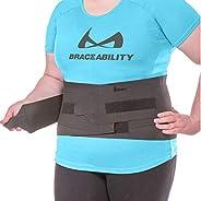 BraceAbility Elastic & Neoprene Compression Back Brace   Lumbar, Waist and Hip Support Belt for Sciatica N