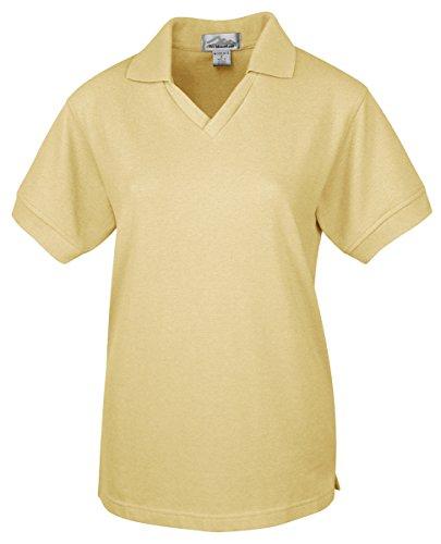 Tri-Mountain 101 Women's Venice Short Sleeve V-Neck Pique Golf Shirt Sunflower 2XL