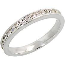 """Sterling Silver Stackable Eternity Band, April Birthstone, Clear Crystals, 1/8"""" (3 mm) wide"""