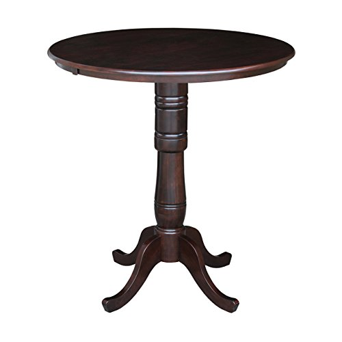 International Concepts 36-Inch Round by 42-Inch High Top Ped Table, Rich Mocha