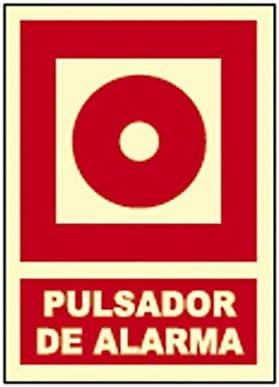 CARTEL SEÑAL PULSADOR DE ALARMA FOTOLUMINISCENTE: Amazon.es ...